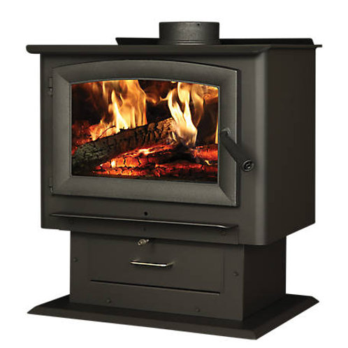 Heats 	2,000 sq. ft. Forester Pedestal Wood Stove with Blower,