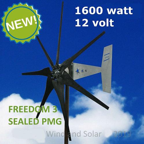 Wind turbine 1600 watts -12volt - c/w controller