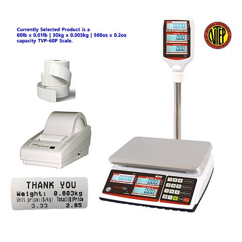 Pole Scale, 60lb x 0.01lb,   does metric also -  Printer, Label 12 Rolls