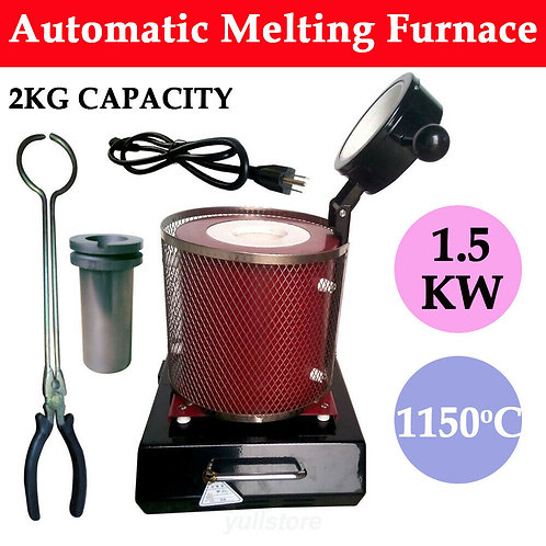 Auto Electric Melting Furnace Gold Silver Copper Smelter Graphite Crucible 1600W