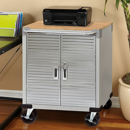 Atlas utuility rolling cabinet - stainless with wood top