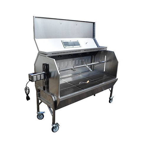 """59"""" Charcoal Spit Roaster Rotisserie 301 Stainless BBQ Pig Lamb Turkey Chicken"""