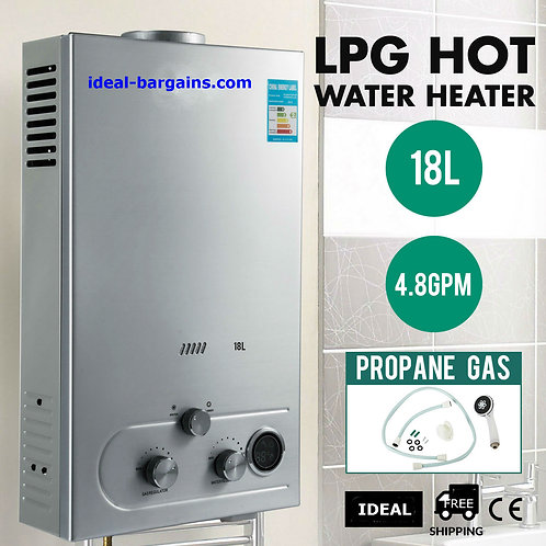 18L 5GPM Instant Tankless Hot Water Heater LPG Propane Gas Bolier w/ Shower