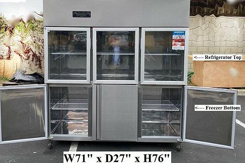 Glass door display refrigerator top - 3 door freezer below