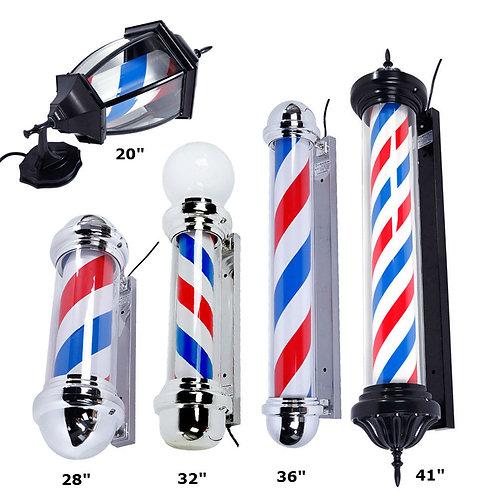 Metal Hair Salon Shop Sign Barber Pole LED Light Blue White Red Stripes