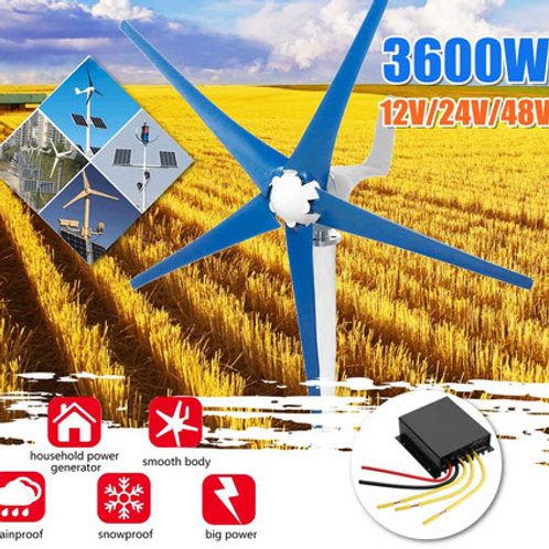 3600 watt wind turbine - 12 - 24 or 48 volt models