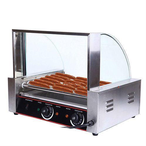 Commercial-24 -Hot-Dog-Grill-Cooker-Machine-sneeze guard
