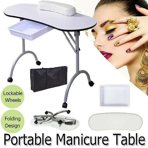 Durable White Portable & Foldable Beauty Nail Care Desk/Manicure Table