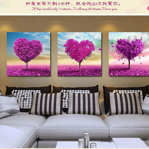 Modern Tree Heart Painting set of three