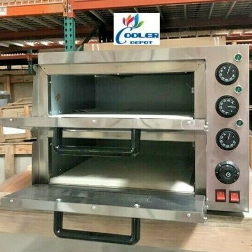 """16"""" Electric Double Stone Base Pizza Oven Bakery Pizzeria Cooker Wings 110V"""
