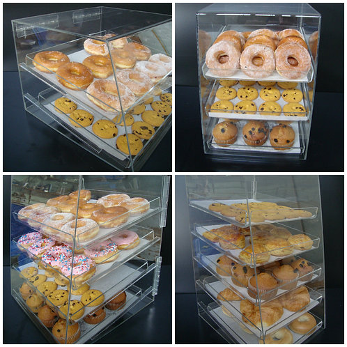 Acrylic Pastry Bakery Donuts Bagels Cookie Display Case w/ trays CUPCAKE stand