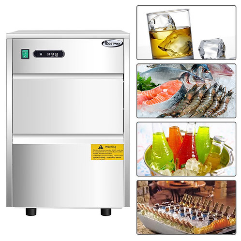 58 LB Automatic Ice Maker Stainless Steel Freestanding Commercial Home Use