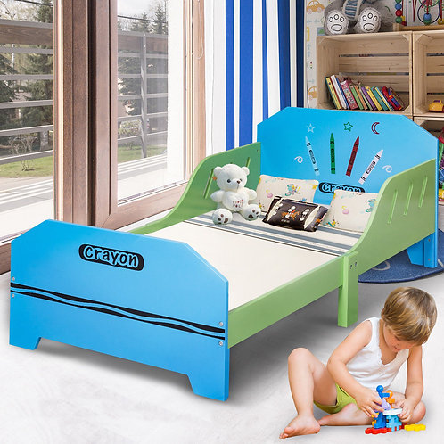 Crayon Themed Wood Kids Bed with Bed Rails for Toddlers and Children Colorful