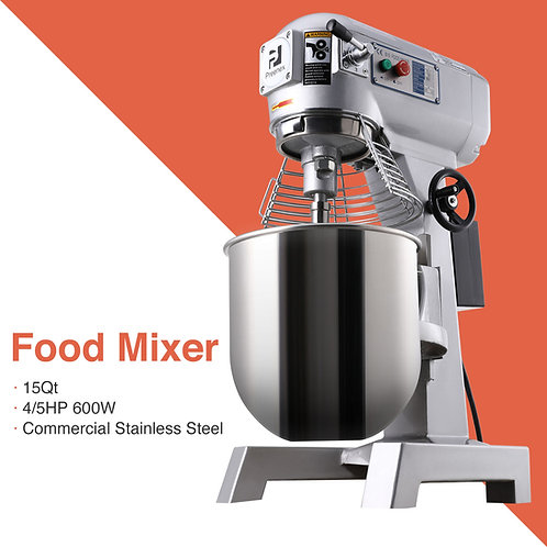 4/5P 15Qt Commercial Dough Food Mixer Bakery Gear Driven 3 Speed Pizza Bakery