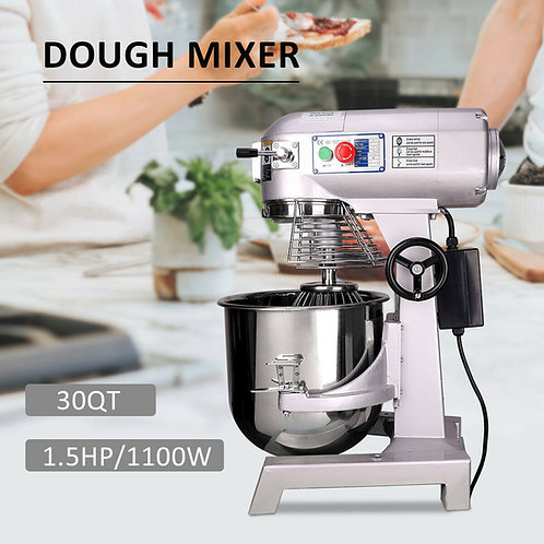 Dough Food Mixer 30 QT 1.5HP/1100W 3 Speed 7kg Capacity Multifunction Blender