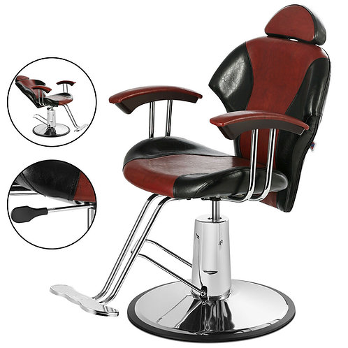 Black+Red Barber Chair Hydraulic Reclining Styling Salon Beauty