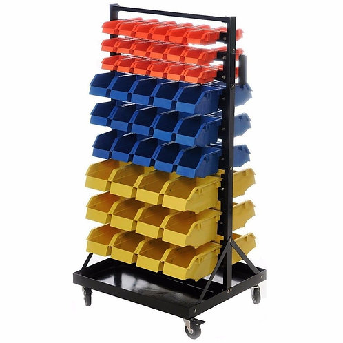 Rolling Industrial / Hobby 90 Bin Small Parts Tool Storage Shelf