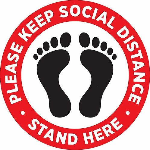Pack of 5 OR 10 - 12 INCH Social Distancing Floor Decals Stickers