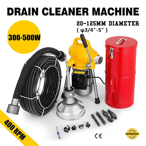 """100FT*3/4"""" Drain Auger Pipe Cleaner Machine Local Snake Sewer Clog W/Cutter"""