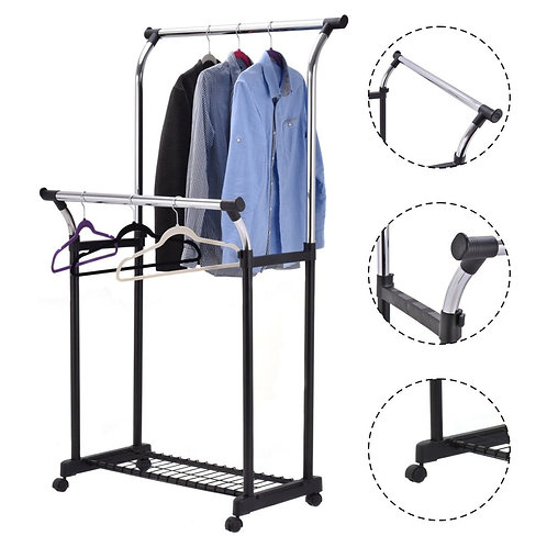 Double Rail Adjustable Garment Rack Rolling Clothes Hanger w/Shoe Rack Portable
