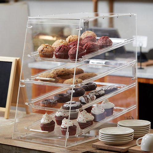 """4 Tray Bakery Display Case with Front and Rear Doors - 24"""" x 14"""" x 24"""""""