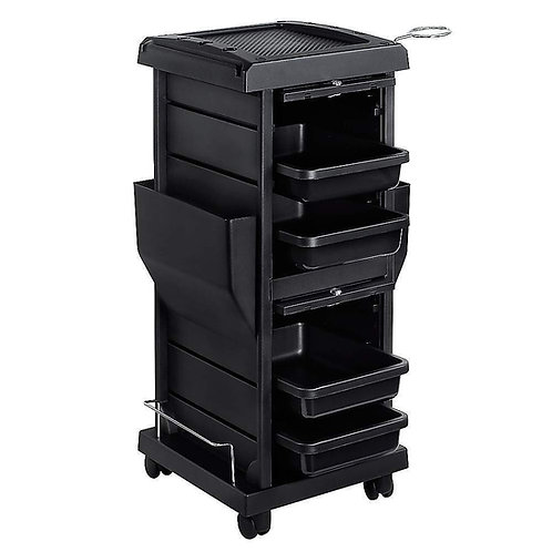 Saloniture Premium Locking Rolling Trolley Cart With Pockets Black