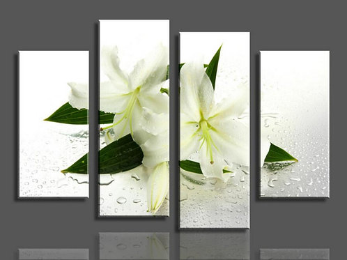 Modern hand painted 4 Panels White flowers oil Painting Canvas