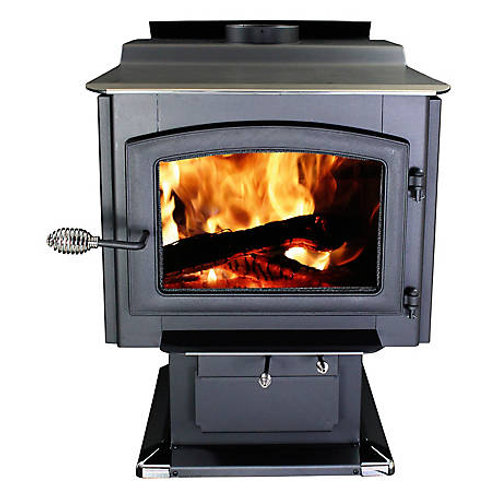 HEATS 3,200 sq. ft. EPA Certified Large Pedestal Wood Stove with Blower,