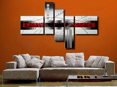 Hand painted unframed modern red & black oil painting
