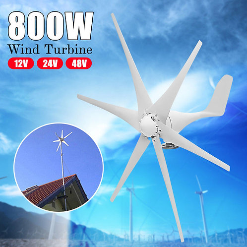 800W 6 Blades 12V/24V/48V Horizontal Wind Turbine Generator Residential Garden