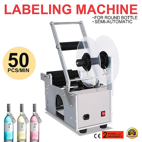 Semi-Automatic Round Bottle Labeling Machine Labeler Electric
