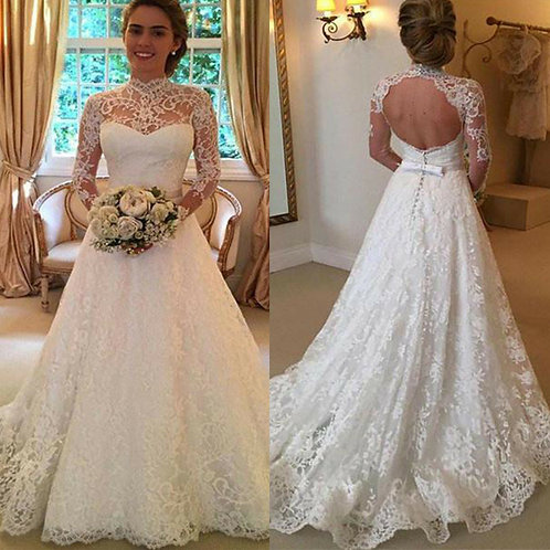 Women Wedding Dress Bridal Formal Gown Lace Long Sleeve Backless Maxi Dresses