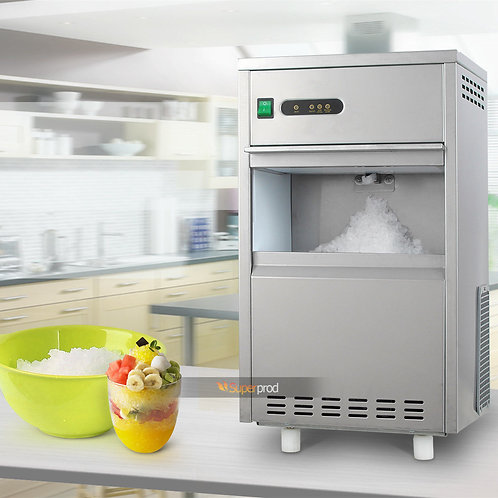 44Lbs/Day Flake Snow Chewable Ice Maker Machine Stainless Steel Crusher Bin Fast