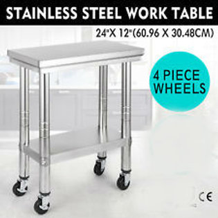 "12"" x 24"" Stainless steel work table - on wheels"