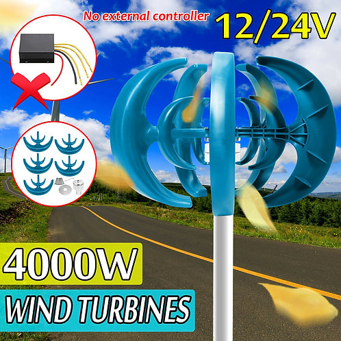 4000W 5 Blades Lantern Wind Turbine Vertical Axis Power Energy Set