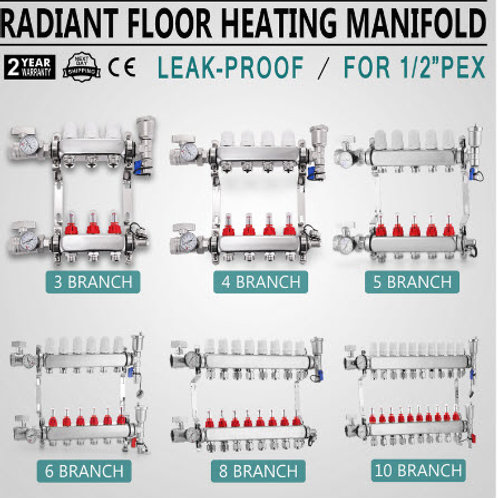 "3-10-Branch PEX Radiant Floor Heating Manifold Set-Stainless Steel For 1/2"" PEX"