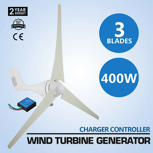 400W Max Power 3 Blades DC 12V - 24V Wind Turbine Generator Kit