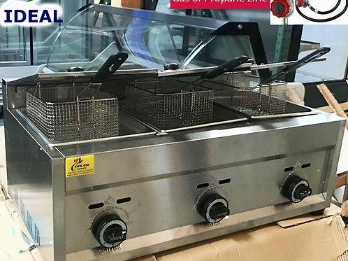 Deep Fryer Propane 3 Burner Commercial Countertop Fry Food cooker