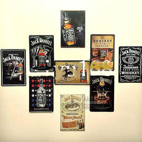 9pcs/lot Jack Daniel Wall Art Vintage style metal paintings 20*30cm