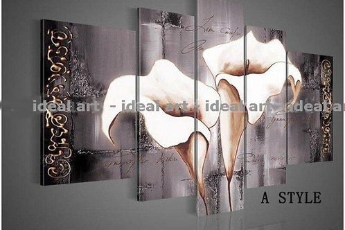 35 cm Lily Fashion Flower -Oil Painting On Canvas 5Pcs Set - 8 to choose from