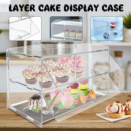 2 Tier Acrylic Pastry Display Cabinet Cakes Donuts Cupcakes Stand Case Holder