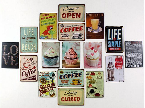 "Cafe, Kitchen, Bar Retro Metal 7.8"" x 11.8"" Signs - 17 options choose 1"