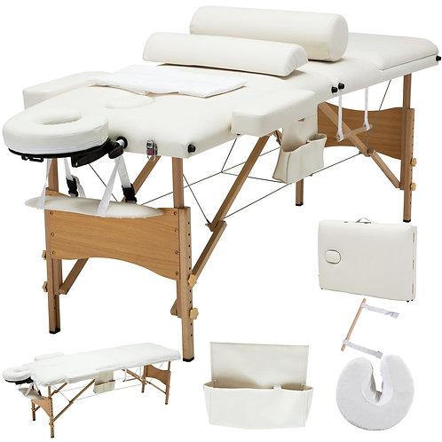 "84""L 3 Fold Massage Table SPA Bed Sheet+2 Bolster+Cradle+Hanger Portable White"