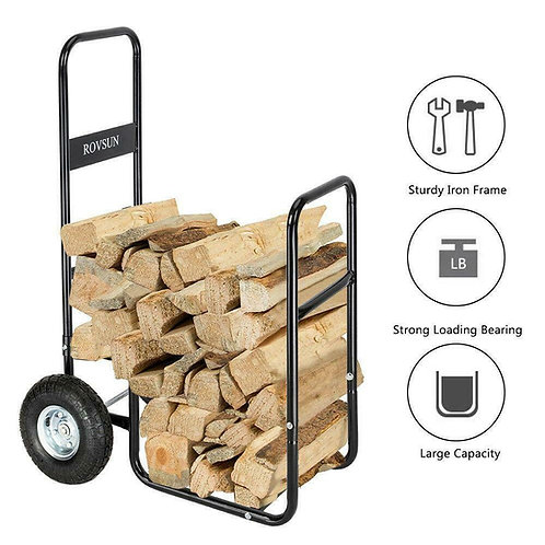 Firewood Log Rack Dolly Cart Carrier Trolley 220 lbs Capacity