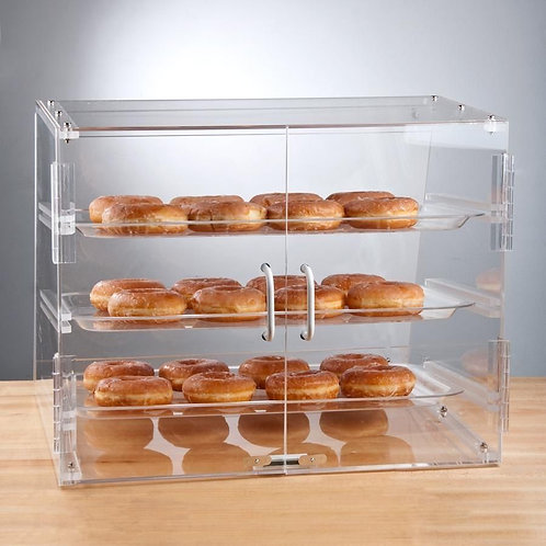 3 Tray Choice Bakery Counter Display Case Rear Door Donut Pastry Hotel