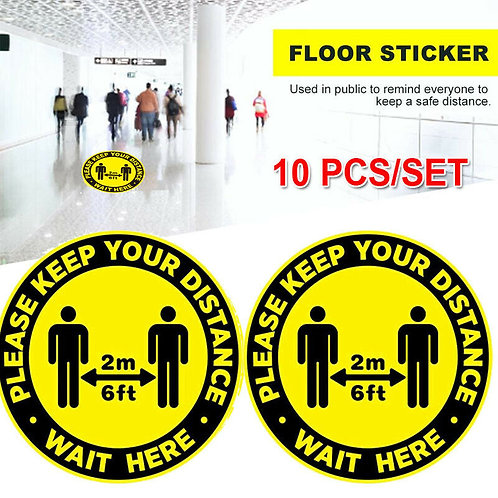 10 Pack Social Distancing Floor Decals Stickers 6 Feet Safety Floor Sign Marker