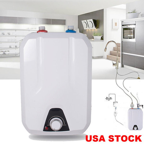 110V 8L Electric Tankless Hot Water Heater Kitchen Bathroom Home 55℃-75℃