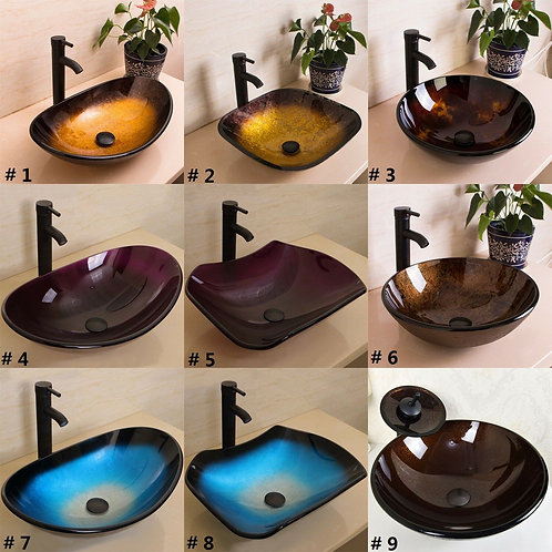 Bathroom Vessel Sink Bowl Oil Rubbed Bronze Faucet Drain Combo Tempered Glass