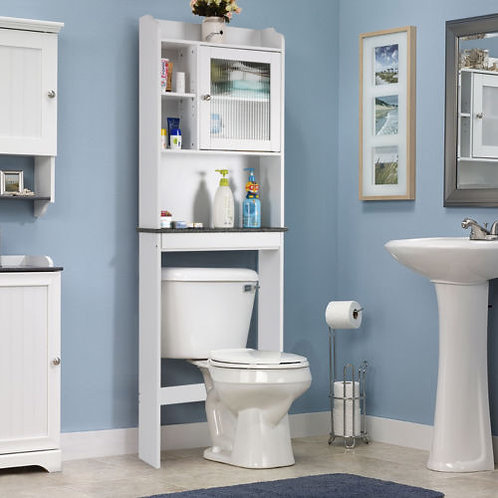 Over-the-Toilet Bath Cabinet Bathroom Space Saver Storage Organizer White New -