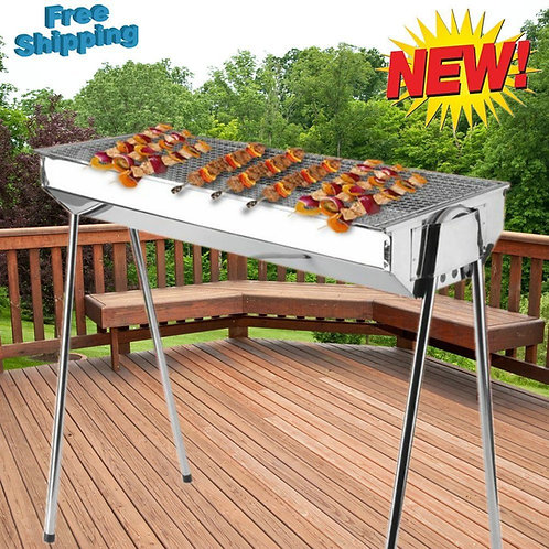Foldable Shish Kabob Barbecue Charcoal Grill BBQ Kabab Shashlyk Stainless Steel